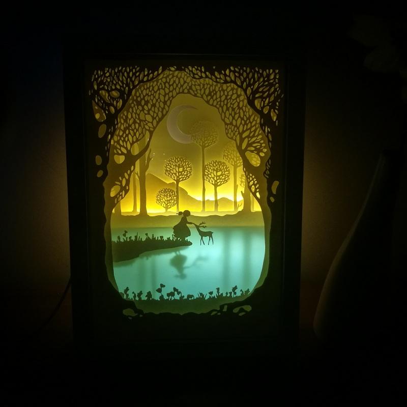 童话, 光影纸雕材料包专用diy小夜灯创意女生生日礼物童话般相遇